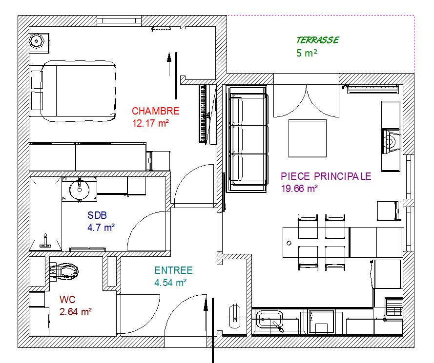 Eyredeco d coration d 39 int rieur am nagement et d coration d un appartement de 45 m for Plan decoration interieur maison